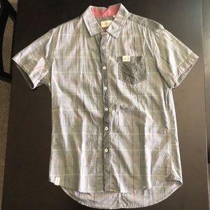 7 Diamonds Grey Short Sleeve Button Up Dress Shirt